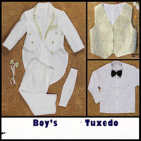 Wholesale Boys Special Occasion Wear - Boys Formal Occasion Tuxedo 6pcs Suits = Coat+Pants+Tie+Girdle+Vest+Shirt 2-13Y Childrens Special Occasions Outfits Evening Dresses