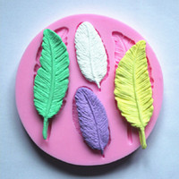 molde de moldes de sabão de silicone 3d venda por atacado-3D Feather Collection Fondant Bolo Moldes Sabonete De Chocolate Mould para a Ferramenta De Cozimento De Cozinha