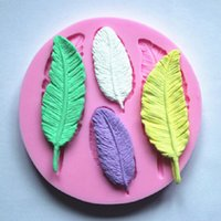 Wholesale 3d molds for cakes resale online - 3D Feather Collection Fondant Cake Molds Soap Chocolate Mould for the Kitchen Baking Tool