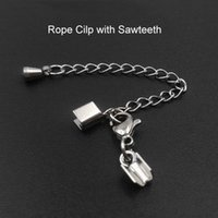 Wholesale Leather Cord Ends 3mm - Top Quality Jewelery 1.5 2 3mm stainless steel Lobster clasp fit Leather Cord End Clasps Lobster Clasp with Extend Chain for DIY Jewelry