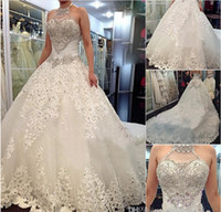 Wholesale Swarovski Mermaid Dresses - Luxury Wedding Dresses With Halter Swarovski Crystals Beads Backless A Line Chapel Train Lace Bling Custom made Ivory Bridal Gowns