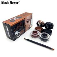 фирменные гелевые вкладыши оптовых-Wholesale-4 in 1 Black+Brown/Black+Blue Gel Eyeliner And Eyebrow   Waterproof Cosmetics Set Eye Liner Kit Brand Music Flower