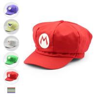супер марио бейсболки оптовых-5 стилей Супер Марио шляпа Супер Марио Аниме косплей шляпа Супер Марио кепка хлопок Бейсбол шляпы