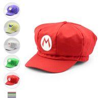 Wholesale super mario cosplay hat - 5 styles Super Mario hat Super Mario Bros Anime Cosplay Hat Super Mario cap Cotton Baseball Hat