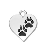 Wholesale Zinc Alloy Paw Print Charm - Free shipping New Fashion Easy to diy 20Pcs Heart paw print zinc alloy tibetan silver double sided charms jewelry making fit for necklace