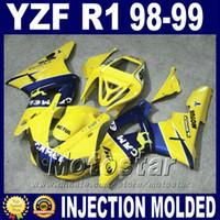ingrosso cammelli gialli-Alta qualità per carene YAMAHA R1 1998 1999 kit corpo camel giallo blu 98 99 yzf r1 carenatura set carrozzeria M9D2
