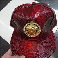 Wholesale Baseball Standards - Medusa, metal standard, leather hat, flat eaves baseball, men and women hip-hop, crocodile hip hop hat