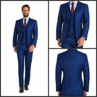 Wholesale Grooms Tuxedos Wedding Royal Blue - Fashion 2016 Elegant Two Button Royal Blue wedding tuxedos Notch Lapel Groom Tuxedos Man Suits(Jacket+Pants+Tie+Vest)