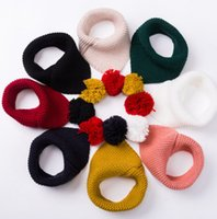 Wholesale Girl Scarf White Crochet - Children scarf kids cute pompon knitting triangle ring fashion baby crochet princess pashmina winter girls boys warmer scarves wraps R0750