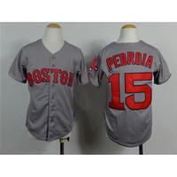 Wholesale Low Price Boys Shorts - Kids Baseball Jerseys #15 Red Sox Dustin Pedroia Grey Youth Baseball Wears Comfy Boys Stylish Baseball Uniforms Best Quality Lowest Price