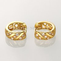 Wholesale Accent Earrings - Loop Round Shaped Swirl CZ Accent Huggie Hoop Earrings For Women Gold Color 1 Pair