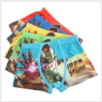 Wholesale Iron Man Underwear - free shipping baby underwear boy boxers shorts cartoon Iron Man printed Panties lovely design 5 pics a lot wholesale 1-051x8
