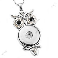 Pendant Necklaces owl pendant free shipping - F00205 newest noosa chunks necklace owl pendent buttons owl necklaces