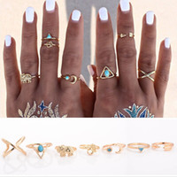 Atacado- 7Pcs Bohemian Ethnic Knuckle Ring Set Arrow Moon Open Midi Rings for Women 1D2006