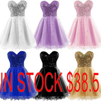 Wholesale Cheap Pipe Bone - Lovely Homecoming Dresses 2015 Occasion Dress Gold Black Blue White Pink Sequins Sweetheart Short Cheap Cocktail Party Prom Gowns Real Image
