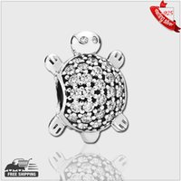 Wholesale Authentic Sterling Silver Beads Turtle silver charm with cubic zirconia for women fashion Fits Pandora Style Bracelets