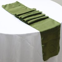Wholesale Cheap Wedding Satin Table Runners - Wholesale-Free shipping 50pcs 30 x 275cm Willow Green Cheap Satin Table Runners For Banquet Wedding Table Decoration Party Event Supplies
