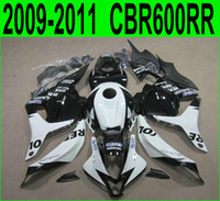 Wholesale honda repsol motorcycle - 7 gifts + motorcycle fairings for Honda Injection molding CBR600RR 09-11 white black REPSOL fairing kit CBR 600 RR 2009 2010 2011 YR51