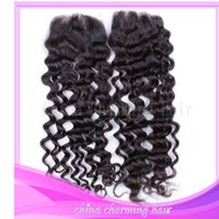 Wholesale Cheap Deep Curl Closure - brazilian deep curl silk base closure free shipping cheap hot sale 100% human virgin hair