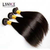 çince düz bakire saç uzantıları toptan satış-3 Adet Lot Bakire Çin Saç İpeksi Düz Çin Remy İnsan Saç Dokuma Paketler Doğal Siyah Çin Saç Uzantıları Arapsaçı Ücretsiz