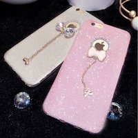Wholesale Diamond Bling Bow Case - i6 6S Plus Bling Bow Pendant Soft Clear Case For iPhone 6 Plus For iPhone 6S Plus Mobile Phone Accessories Glitter Diamond Cover