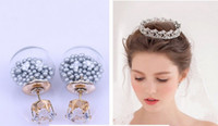Wholesale Transparent Pink Crystal Glass - Summer Style Glass Stud Earring 925 Silver Double Side Glass Ball Crown Earrings Transparent Crystal Earrings 2015 NEW Arrival