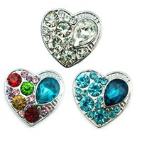 Wholesale Three Metal Bracelet - JINGLANG Fashion 18mm Snap Buttons three Color Rhinestone Heart Metal Clasps DIY Noosa Bracelets Accessories Jewelry