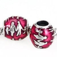 Wholesale Authentic Pandora Family Charm - Authentic 925Sterling Silver A Mother's Heart Family Red Enamel Charm Bead Fits European Pandora Jewelry Bracelets