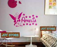 Wholesale Tinkerbell Stickers Bedroom - Tinkerbell Fairy Personalised Name Kids Bedroom Nursery Wall Sticker Home Decoration 40cmX80cm Free Shipping