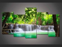 Wholesale Roman Posters - 2015 Framed Printed green tropical waterfall Painting children's room decor print poster picture canvas Free shipping roman print