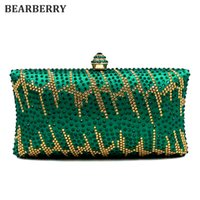 BEARBERR 2017 de alta qualidade verde Crystal Evening Clutches moda Rhinestones Bridal Purses Wedding Prom Box Embreagem Bolsa Bolsa