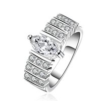 Wholesale Natural Diamond Ring White Gold - Amazing Luxury Diamond Ring Engagement Jewelry 925 Silver 18K White Gold Plated beautiful Natural Wedding Ring R582