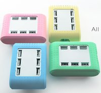 Wholesale Portable Usb Multi Charger Cable - Wholesale-6 Port Usb Mini Mobile Phone Charger Usb Multi Charger Detachable Portable Digital Accessories Usb Charger Cable Female Adapter