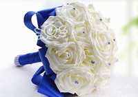Wholesale Cheap Bouquets For Weddings - Shiny Rhinestone Artificial Wedding Bouquets Ivory Rose Flowers For Bride Romantic Wedding Gifts Valentine's Day Gifts Cheap Bridesmaid Rose