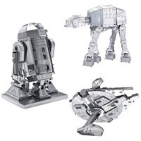 All'ingrosso-3PCS / Laser Lot taglio Modello Star Wars R2-D2 Droid Robot AT-AT imperiale Walker Millennium Falcon metallo 3D Puzzle