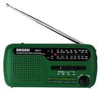 Wholesale Solar Mw - Portable Mini FM Radio DE13 FM MW SW Crank Dynamo Solar Emergency Radio World Receiver with Flashlight