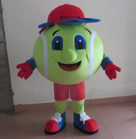Wholesale Tennis Ball Mascot Costumes - SX0723 100% real photos of big green tennis ball mascot costume for adult to wear for sale