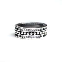Wholesale Women Stylish Rings - 925 Sterling Silver wide band Ring With Retro Stylish Gatherings CZ Ring For Women Wedding & Party Jewelry
