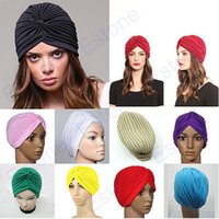 Wholesale Indian Hat Bands - Stretchy Turban Head Wrap Band Sleep Hat Chemo Bandana Hijab Pleated Indian Cap