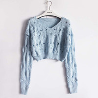 Wholesale Cable Knitwear - Wholesale- Smoves Women's Destroyed Ripped Slouchy Cable Knitted Short Cropped Sweater Pullover Hollow Jumper Tops Knitwear
