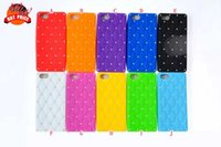 Wholesale Mobile Phone Covers 5g - Diamond bling Soft Silicone GEL Case plaid rubber cover For Iphone 6S 6 4.7 5 5G 5S 5th I6S skin cellphone Mobile phone colorful Luxury