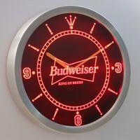 Wholesale Neon Led Wall Clock - nc0472 Budweiser LUMINOVA Neon Sign Bar Beer Decor LED Wall Clock Free Shipping Dropshipping Wholesale