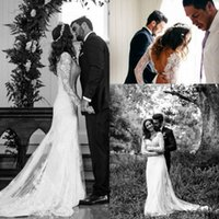 Wholesale Long Sleeve Vintage Lace A Line Wedding Dresses Spring Custom Made Hot Sale White Backless Cheap Wedding Gowns Vestidos De Novia