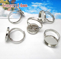 Wholesale Silver Ring Blank Cameo - Wholesale-Round Ring Settings 100pcs lot 14mm Silver Stamping Blanks Unadjustable for Cameo Base Blank women DIY