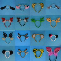 Wholesale Grey Dog Costume - Children Adult Animal Ear Headband Halloween Party Pig Giraffe Tiger Dog Monkey Headbands Hair Accessory