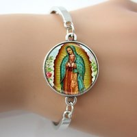 Wholesale Catholic Virgin Mary - 4 Our Lady of Guadalupe Bracelet,Silver-plated Virgin Mary Religious Catholic Glass dome bangle,Bezel Art Pendant photo bangles