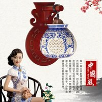 Wholesale Porcelain Blue Lamps - Classical Chinese style restoring ancient ways of led wall lamp of blue and white porcelain carved hollow out bedroom hallway sitting room w