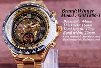 Wholesale Ruby Brown - New Winner Gold Watches Luxury Brand Men's Fashion Automatic Hollow Out Man Mechanical Watches Waches relogio masculino