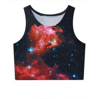 Wholesale Galaxy Cotton Tank Tops - Alisister beauty nebula space galaxy print vest 3d crewneck sleeveless crop tops high quality cotton elastic tank top cropped
