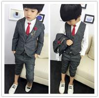 Wholesale Children Spring New Suit 3pcs - New 2016 Boys Clothing Gentleman Sets Handsome Children's Jacket + Vest + Pants 3pcs Set Kids Baby Children Suits Clothes Hot Selling